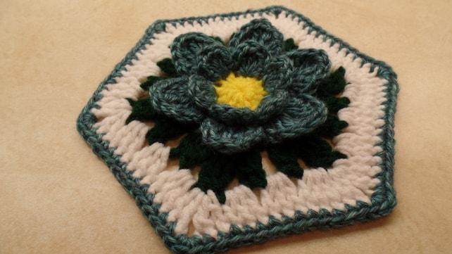 Crochet 7 Granny Hexagon Blue Lotus Flower Pattern Etsy