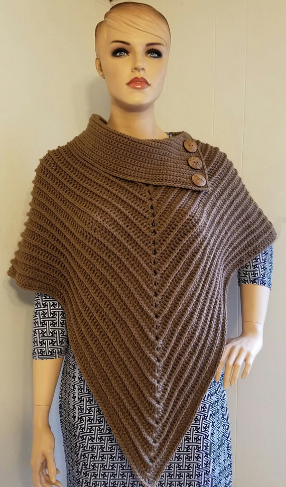 Crochet The Classy Cowl Poncho Pattern One Size Fits Most Etsy