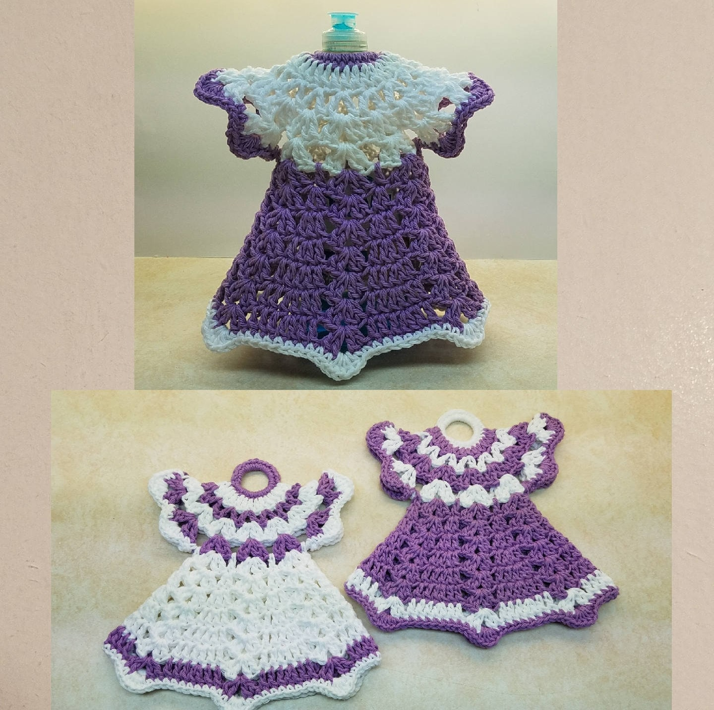 A Pair Of Vintage Crochet Dress Potholders And A Vintage Dress Etsy