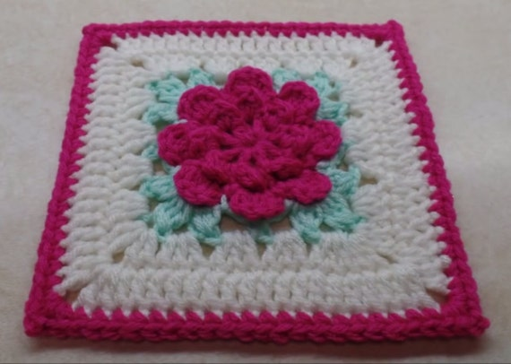 Crochet Rose Granny Square Pattern Digital Download Only Etsy