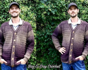 Crochet Mens Cardigan A Sweater For Pat Pattern 527 DIGITAL DOWNLOAD ONLY