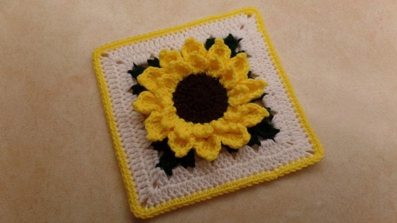 Crochet 10 Sunflower granny square pattern 326 DIGITAL image 0