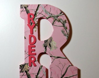 Pink Camo Custom Wall Letter, Name Art, Wall Letters, Hanging Letters, Nursery Letter, Wooden Letters, Girls Room Decoration,Pink Camo Decor