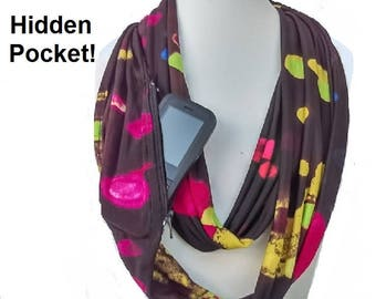 Hidden Pocket Scarf-Travel Scarf-Zip pocket scarf