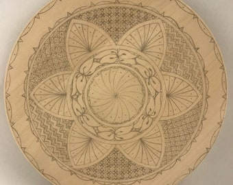 """Ready-to-Carve """"Sampler"""" Pattern on 10"""" Basswood Plate"""