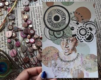Grande Carte postale, illustration portrait poétique,