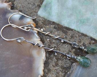 Moss Agate Earrings, Silver Dangle Earrings, Dangler Earrings, Sterling Silver Earrings