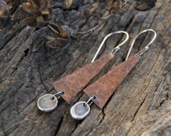 Hammered Copper Earrings, Copper Dangle Earrings, Mixed Metal Earrings, Rustic Copper, Artisan Earrings, Triangle Earrings