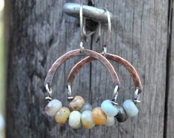 Amazonite Earrings, Copper Earrings, Dangle Earrings, Copper Hoop Earrings, Mixed Metal Earrings, Amazonite Jewelry, Hammered Copper