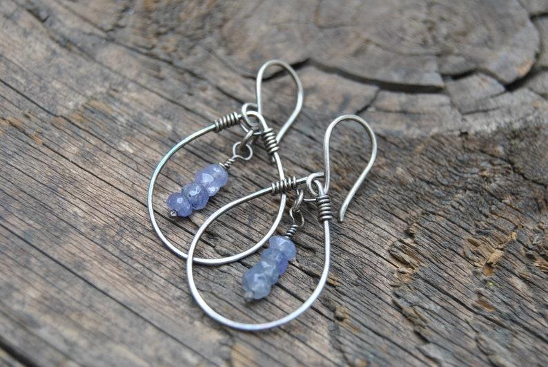 Small Hoop Earrings  Tanzanite Earrings  Silver Hoop Earrings  Dangle Earrings  Minimalist Earrings