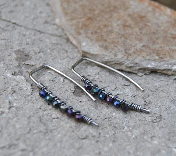 Black Spinel Hoop Earrings Bead Wrapped Hoop Earrings Hoop Etsy