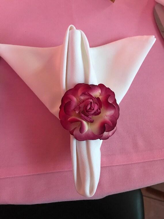 Paper Flower Napkin Rings Set Of 4 Burgandy Etsy