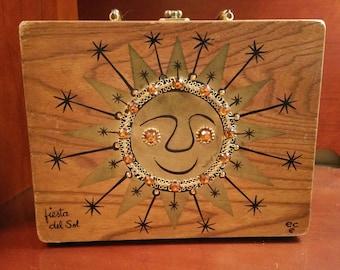 Rare Vintage Enid Collins Fiesta del Sol Wooden Box Bag