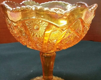 Vintage Imperial Glass Compote-footed, carnival  glass