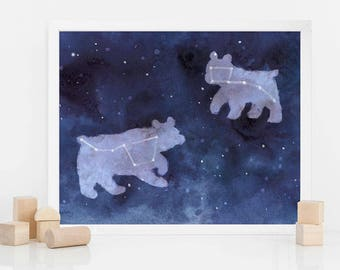 Watercolor Big dipper and small dipper | watercolor Ursa major and minor | constellation | personalized gift | zodiac art print | indigo