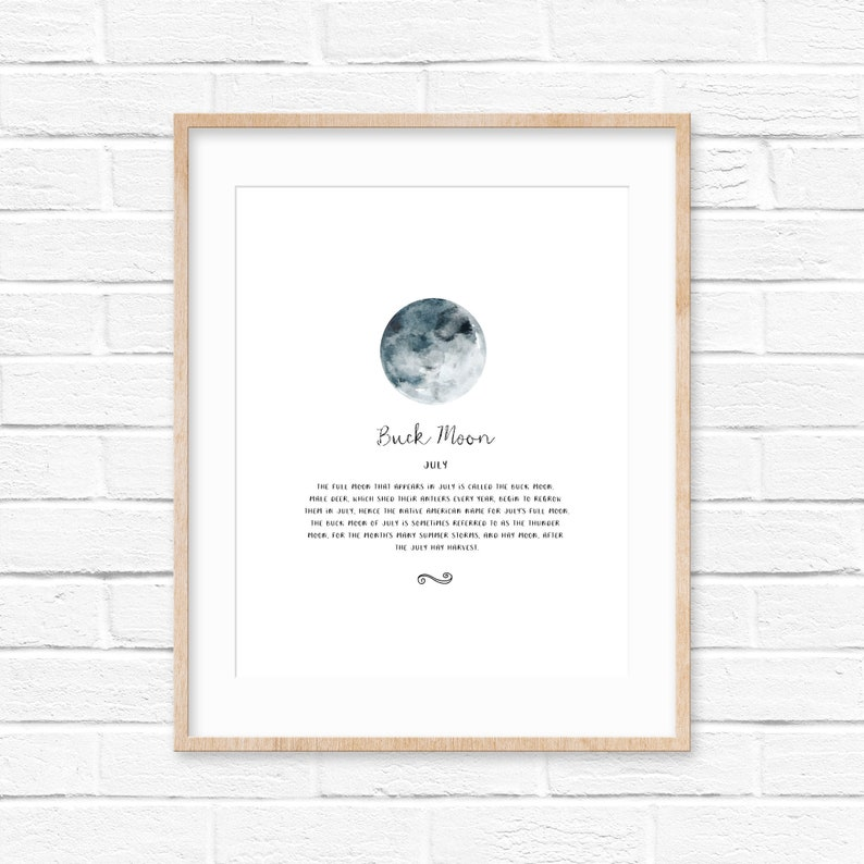 July Moon | Full moon | July birthday | personalized gift | educational  poster | native american | poster | sky | astronomy | watercolor