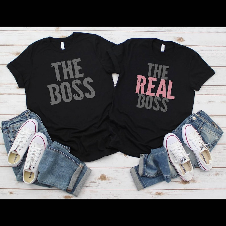 Bride And Groom The Boss The Real Boss Matching Couple Shirts His And Hers Gifts Set Of 2 Husband Shirt Engagement Gifts For Couple