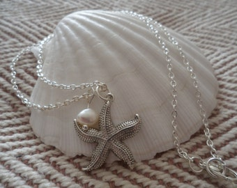 Starfish Princess Length Necklace. Ivory freshwater pearl or Light blue Swarovski pearl. Beach wedding jewellery. Beach wedding. Bridal