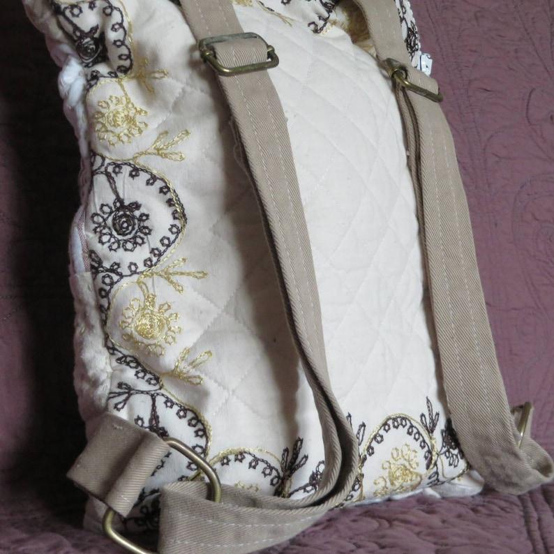 Quilted patchwork Sashiko backpack Linen bag