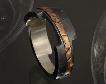 Black Wedding Band, Unique Men's Ring, Two Tone Ring, Silver and Copper ring, Man's Copper Wedding Band, Anniversary Gift for him, RS-1202