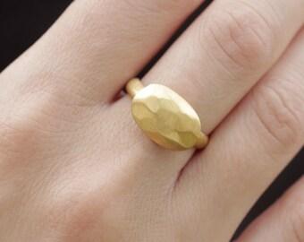 Unique Women ring, Brushed gold Ring, Boho 14K Gold Ring, Yellow Gold Statement Ring, Boho gold ring, Anniversary ring, Gift for her, 1199
