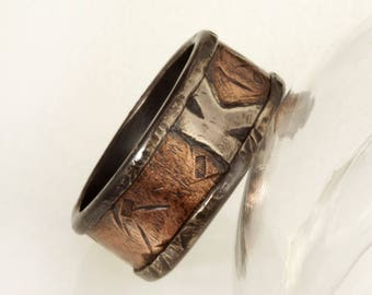 Initial ring, Custom Initial ring, Personalized ring, Monogram ring, Mens initial Ring / Jewelry, Rustic ring, Silver & Copper Ring, RS-1217