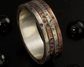 Cool mens ring, Man Wedding Band,  Unique ring, Engagement ring, Boho Men Ring, Promise ring, Gift for men, -1126