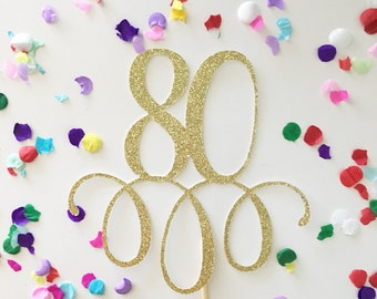 Sparkly Glitter 80 Cake Topper. Eighty Cake Topper. 80th Birthday. Nana Topper. Grandma Cake. Grandpa. Happy 80th Birthday. 80 years loved