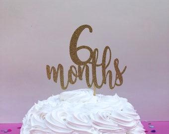 6 Months Cake Topper 1 2 Birthday Glitter Smash Month Photography Prop Sparkly Half