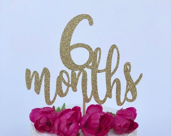6 Months Cake Topper 1 2 Birthday Glitter Smash Month Photography Prop Sparkly Half