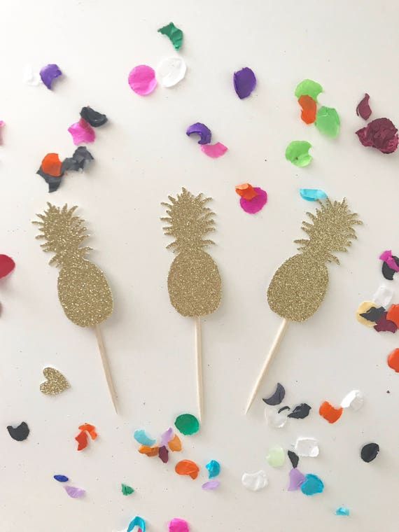 Gold Glitter Pineapple Cupcake Food Toppers, Luau Toppers, Hawaii Cupcakes, Pineapple Theme, Birthday Cupcake Toppers, Glitter Pineapples