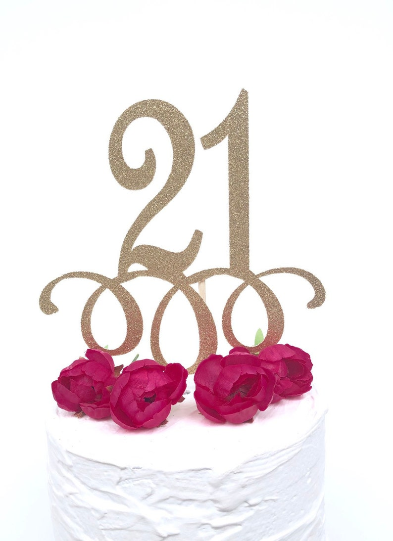 Glitter 21st Birthday Cake Topper Twenty One Gold