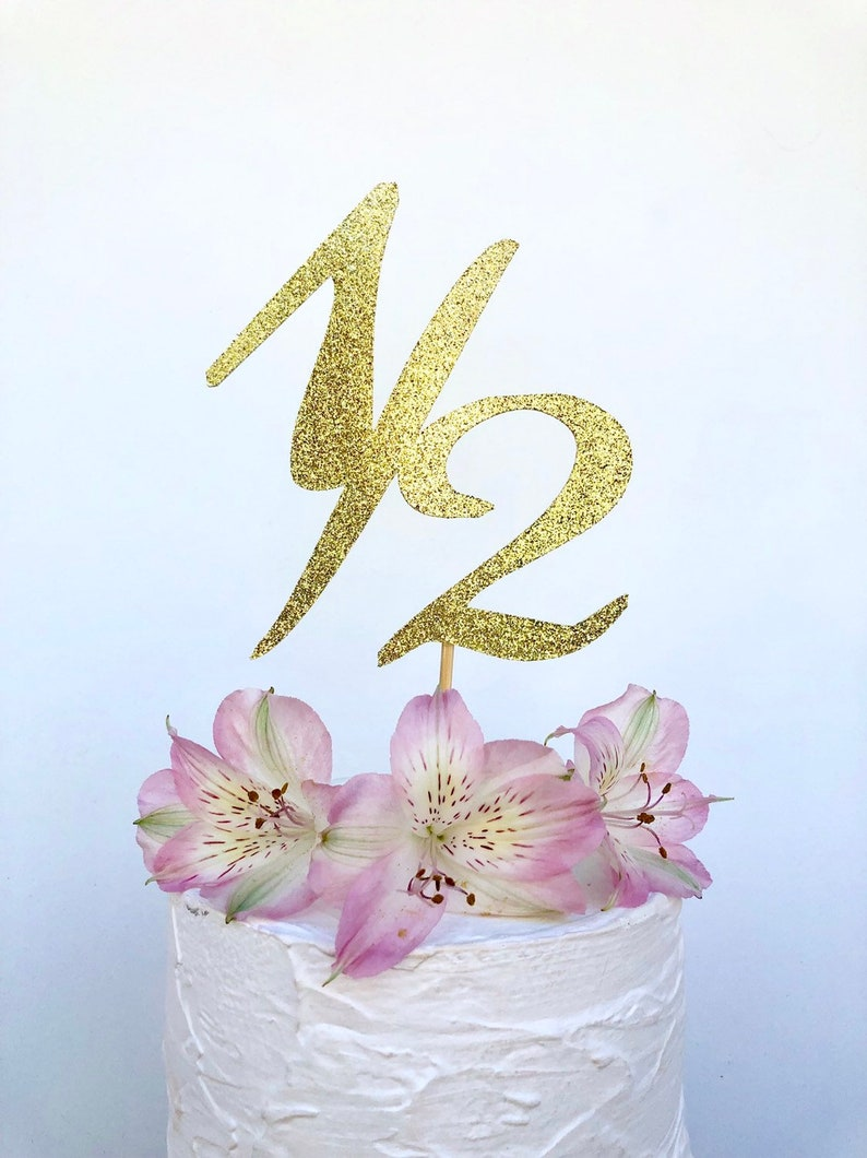 Glitter 1 2 Birthday Cake Topper Smash Pick 6 Month