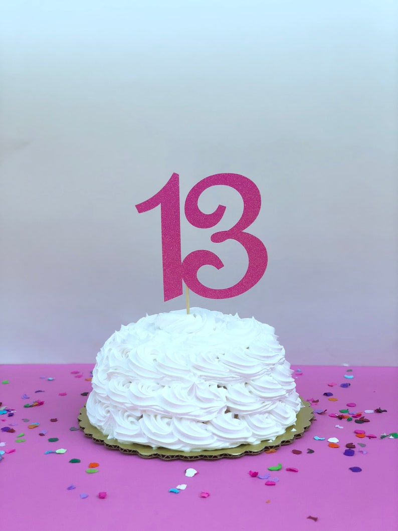 Glitter 13 Birthday Age Cake Topper 13th Thirteen