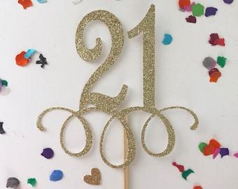 Glitter 21st Birthday Cake Topper, Twenty One, Gold Cake Topper, 21st, Let's Party Cake Topper, Happy Birthday Cake Topper, 21 again, 21 AF