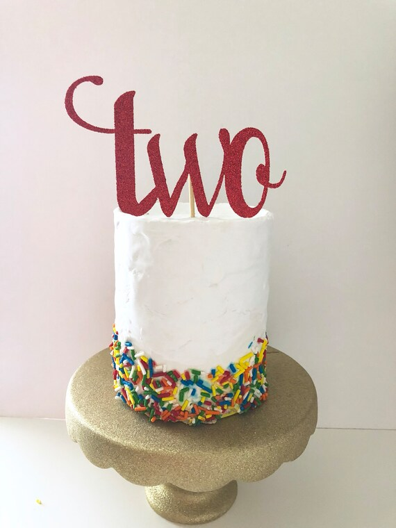 Large Sparkly Glittery Two Cake Topper 2nd
