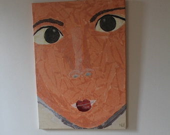 Chinese girl face collage on canvas