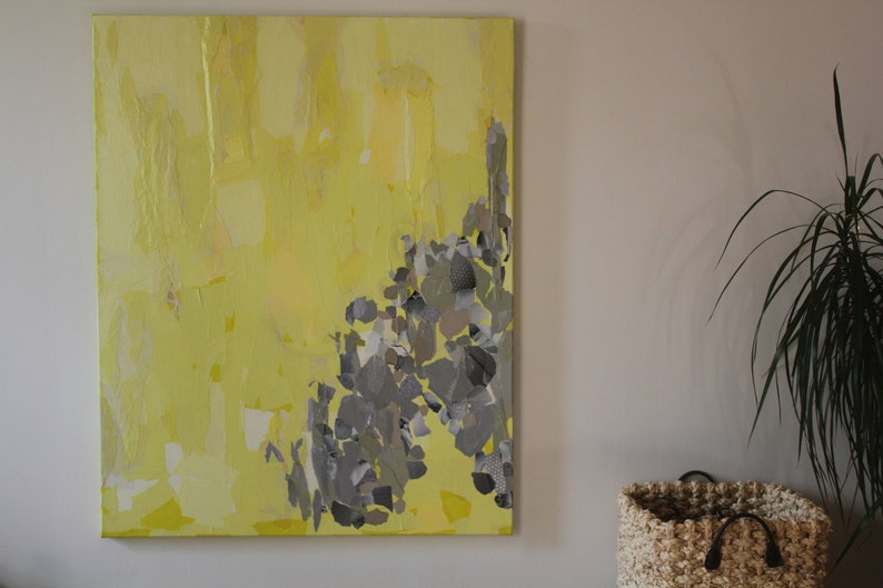 Collage yellow lemon and soft grey canvas protected by a image 0