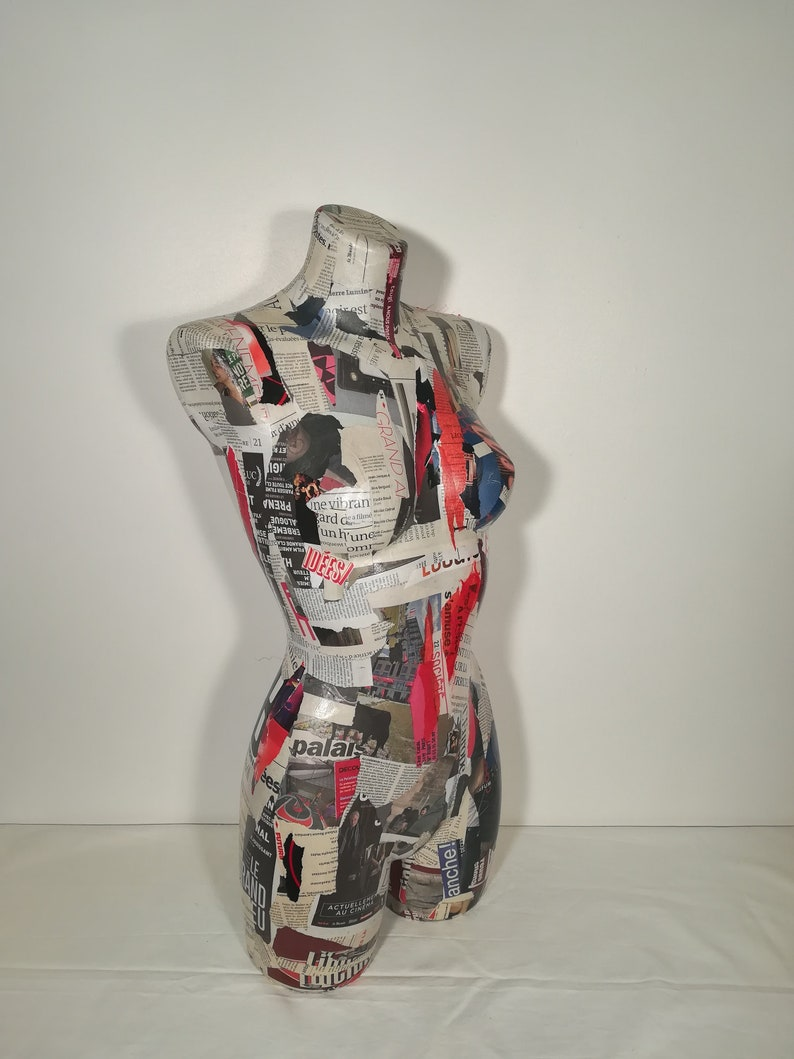 Collage large bust newspaper red trend paper image 0
