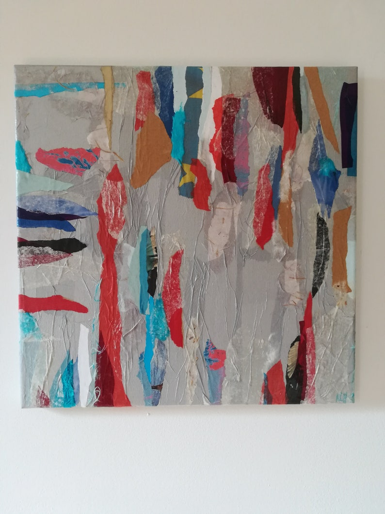Collage my sweet country on glazed canvas 40 X 40 image 0
