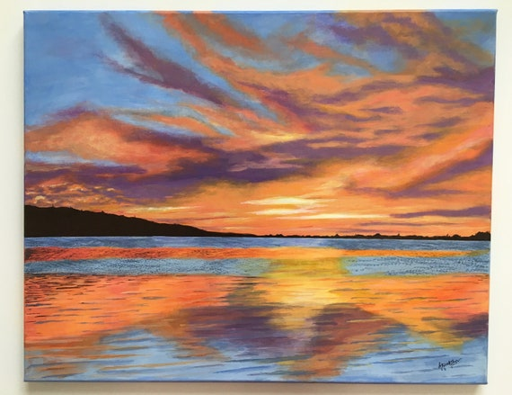 Sunset Painting Sunset Wall Decor Acrylic Painting Canvas Art Nature Art Original Painting Contemporary Art Free Shipping In Usa