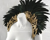 Feathered Baroque Style Collar ~ Royal Fantasy Costume Ball Masquerade Halloween Wedding Witch Gothic Accessory for Fairytale Feathers Dress