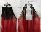 Ombre Vampire Style Gothic Elven Fantasy Cape Plastic Collar ~ Halloween Ball Masquerade Cloak ~ Medieval Fairytale Outfit Pagan Wedding