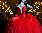 Phoenix Dramatic Fairytale Ball Gown ~ Vampire Gothic Wedding Dress Halloween Venice Masquerade Carnival Costume Goth Feathered Corset Dress