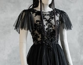 Couture Sheer Gothic Wiccan Bridal Dress ~ Masquerade Ball Haute Goth Halloween ~ Modern Witch Black Wedding Gown ~ Dark Glam Fairytale Boho