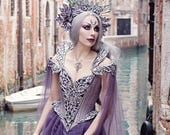 Couture Fantasy Gothic Wedding Gown ~ Haute Goth Dress ~ Fairytale Elven Queen Ball Masquerade Costume ~ Halloween Elf Bridal Outfit Corsets