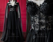 7b33f9ee0f3b Luxury Gothic Fairytale Wedding Dress Cupped Corset Bodice ~ Black Bridal  Gown ~ Halloween Vampire Cape