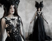 Dramatic Sheer Gothic Wedding Dress ~ Haute Goth Bridal Gown ~ Black Veil Halloween Evening Dress ~ Modern Witch Pagan Ceremony Wiccan Dress