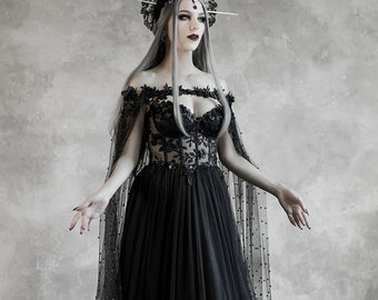 9134cb8191a Dark Fairytale Wedding Dress with Cupped Corset Bodice ~ Gothic Black  Bridal Gown ~ Halloween Vampire Cape ~ Wiccan Fantasy Wedding Cloak