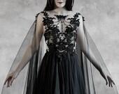 Dramatic Sheer Gothic Wedding Dress ~ Haute Goth Bridal Gown ~ Black Veil Halloween Evening Dress ~ Modern Witch Pagan Ceremony Wiccan Dress